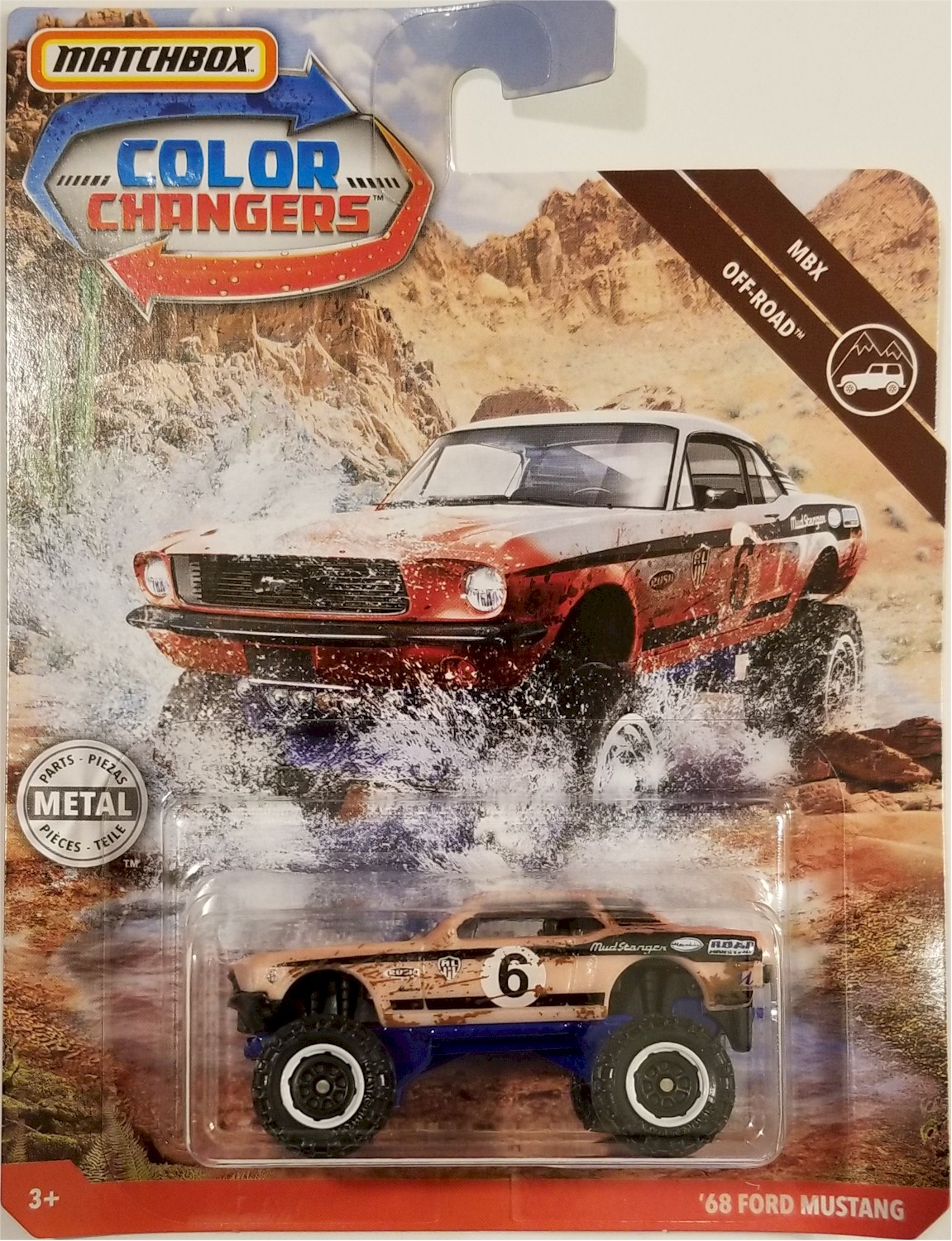 2019 Matchbox Color Changers /'68 Ford Mustang WHITE MOC MUDSTANGER