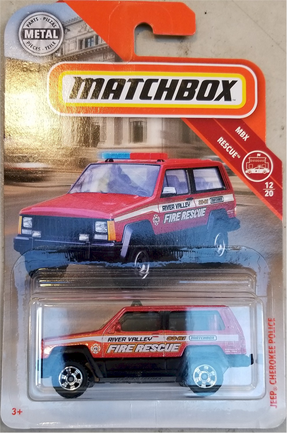 Matchbox 2019 #51 Jeep Cherokee Fire Rescue Police MOC MBX Rescue #12 FYR17